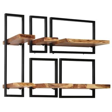 vidaXL Wandregal-Set 5-tlg. Massives Akazienholz und Stahl[3/13]