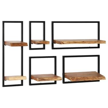 vidaXL Wandregal-Set 5-tlg. Massives Akazienholz und Stahl[10/13]
