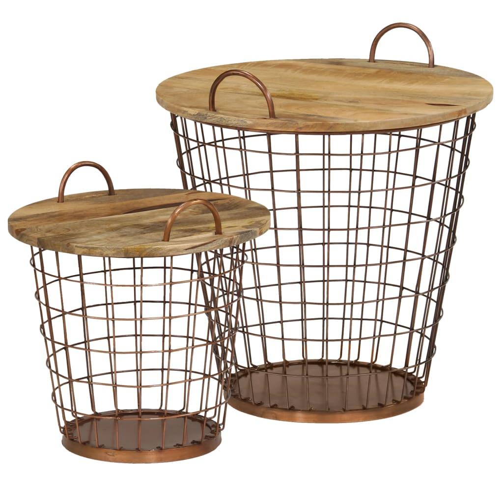 vidaXL Sada konferenčních stolků/košíků 2 ks masivní mangovník 55x50cm