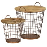 vidaXL Coffee Table/Basket Set 2 Pieces Solid Mango Wood 55x50 cm