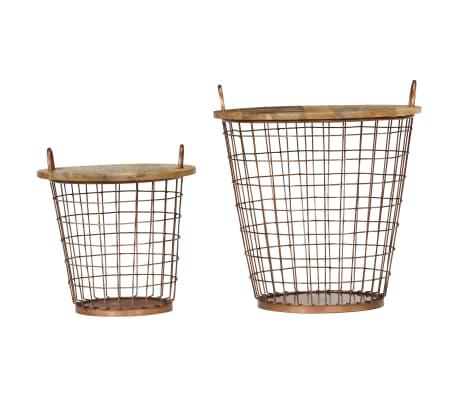 acheter vidaxl jeu de table basse panier 2pcs bois de manguier massif 55x50cm pas cher. Black Bedroom Furniture Sets. Home Design Ideas