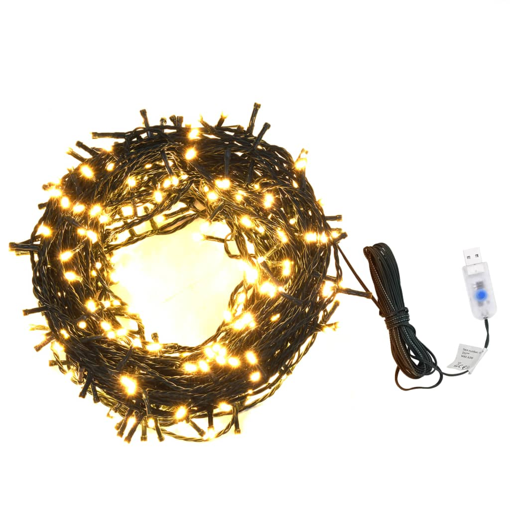 vidaXL Łańcuch z 400 lampkami LED, 40 m, 8 efektów, IP44, ciepła biel