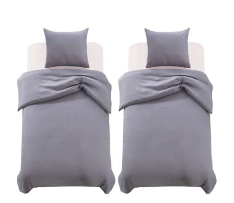vidaxl 4 tlg bettw sche set anthrazit 140x200 60x70 cm g nstig kaufen. Black Bedroom Furniture Sets. Home Design Ideas