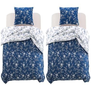 vidaxl 4 tlg bettw sche set blumendruck 140 x 200 60 x 70 cm g nstig kaufen. Black Bedroom Furniture Sets. Home Design Ideas