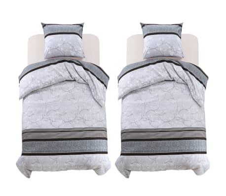 vidaxl 4 tlg bettw sche set gestreift blumenmuster 155x200 80x80 cm g nstig kaufen. Black Bedroom Furniture Sets. Home Design Ideas