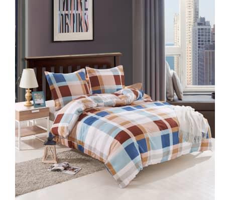 vidaxl 4 tlg bettw sche set orange kariert 140 x 220 60 x 70 cm g nstig kaufen. Black Bedroom Furniture Sets. Home Design Ideas