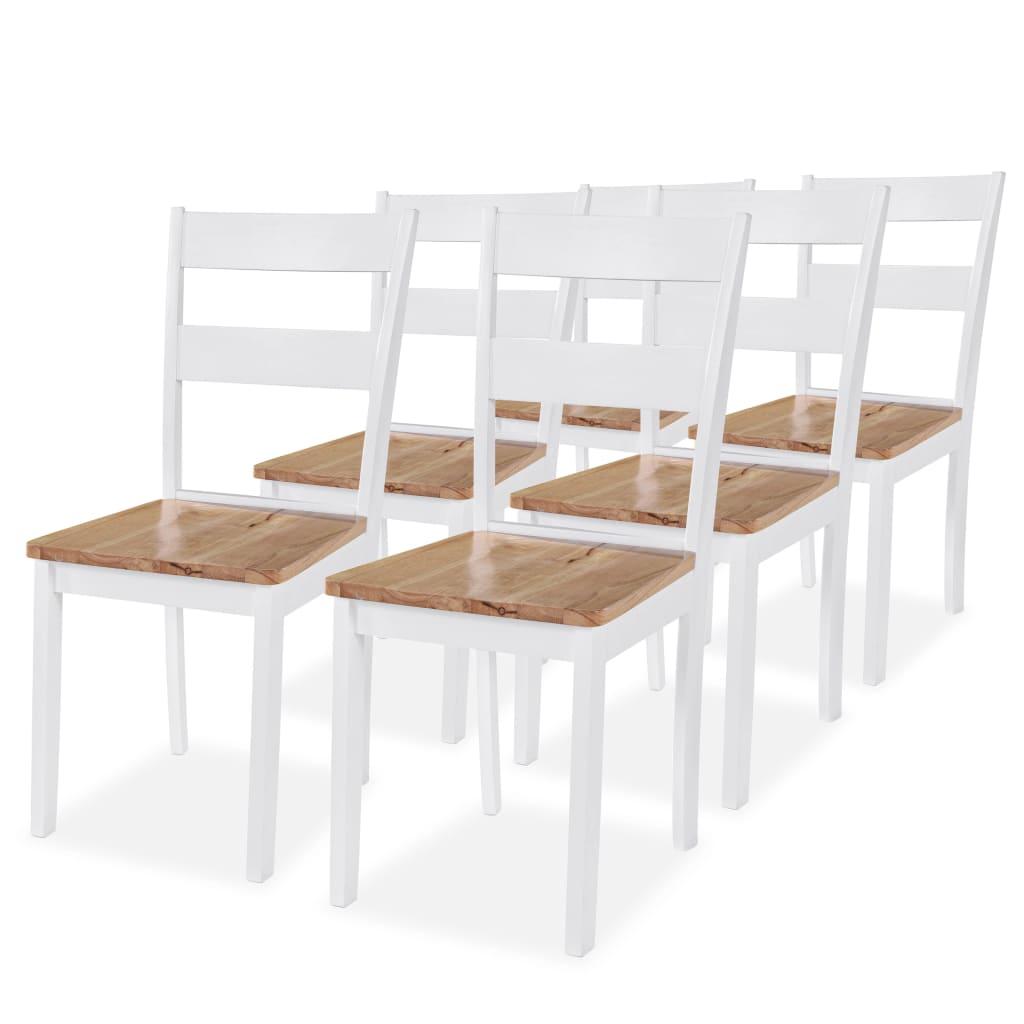 vidaXL Καρέκλες Τραπεζαρίας 6 τεμ. Λευκές Μασίφ Ξύλο Καουτσουκόδεντρου
