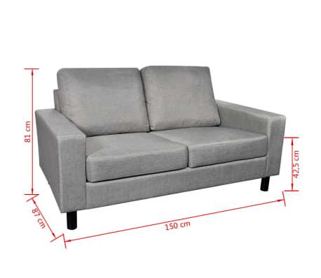 vidaXL Penkiavietis sofos kompl., 2 d., šviesiai pilkas, medžiaga[11/11]