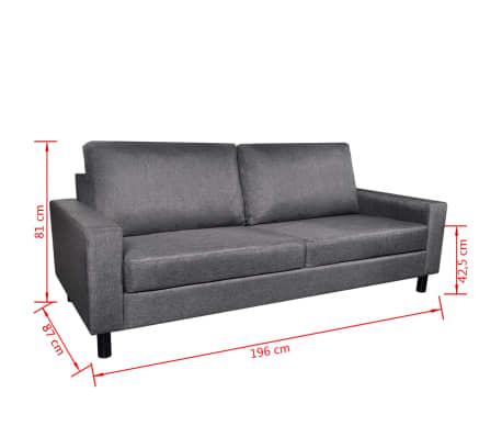 vidaXL Set de canapele 5 persoane, 2 buc, Material textil Gri închis[10/11]