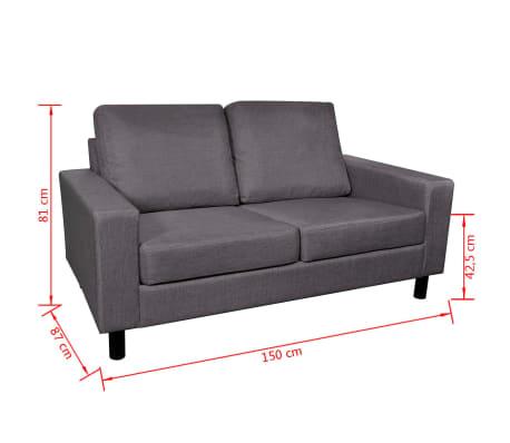 vidaXL Set de canapele 5 persoane, 2 buc, Material textil Gri închis[11/11]