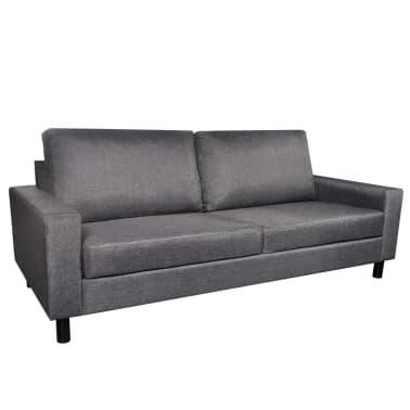 vidaXL Set de canapele 5 persoane, 2 buc, Material textil Gri închis[3/11]