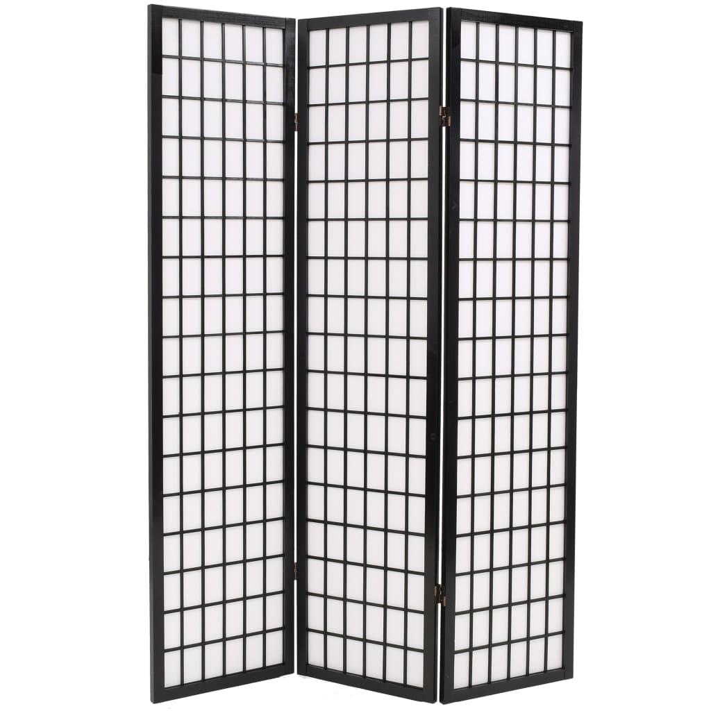 vidaXL Paravan pliabil cu 3 panouri, 120x170 cm, negru, stil japonez vidaxl.ro