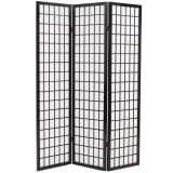 "vidaXL Folding 3-Panel Room Divider Japanese Style 47.2""x66.9"" Black"