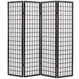 "vidaXL Folding 4-Panel Room Divider Japanese Style 63""x66.9"" Black"
