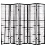 vidaXL Folding 5-Panel Room Divider Japanese Style 200x170 cm Black
