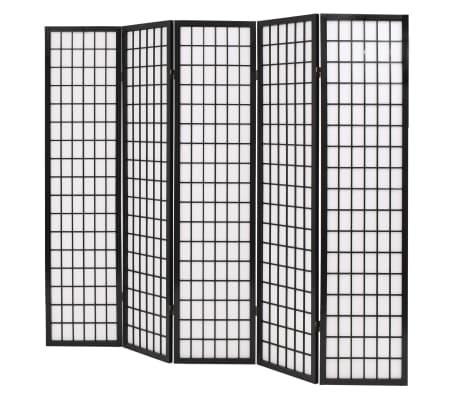 vidaXL 5tlg. Raumteiler Japanischer Stil Klappbar 200 x 170 cm Schwarz[3/6]