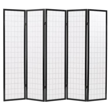 vidaXL 5tlg. Raumteiler Japanischer Stil Klappbar 200 x 170 cm Schwarz[4/6]