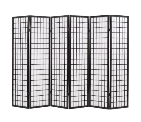 "vidaXL Folding 6-Panel Room Divider Japanese Style 94.5""x66.9"" Black[1/6]"