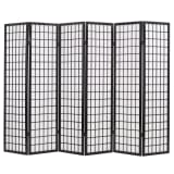 vidaXL Folding 6-Panel Room Divider Japanese Style 240x170 cm Black