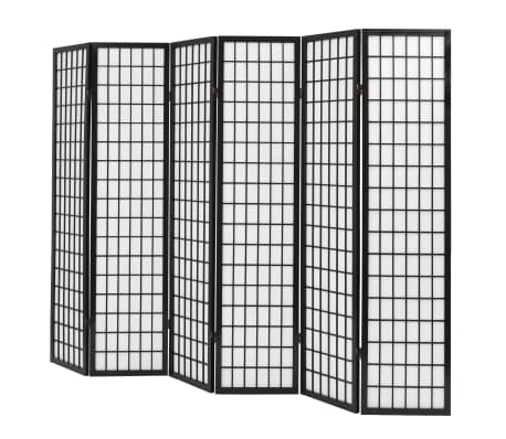"vidaXL Folding 6-Panel Room Divider Japanese Style 94.5""x66.9"" Black[3/6]"