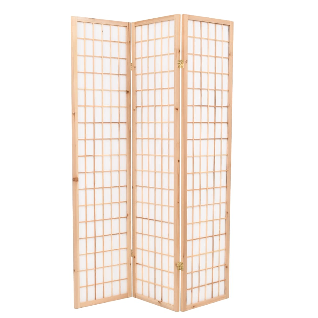 Skládací 3dílný paraván v japonském stylu 120 x 170 cm přírodní