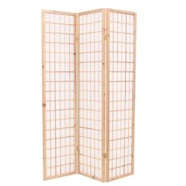 "vidaXL Folding 3-Panel Room Divider Japanese Style 47.2""x66.9"" Natural[1/6]"