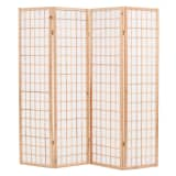 "vidaXL Folding 4-Panel Room Divider Japanese Style 63""x66.9"" Natural"
