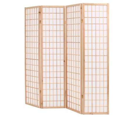 "vidaXL Folding 4-Panel Room Divider Japanese Style 63""x66.9"" Natural[3/6]"