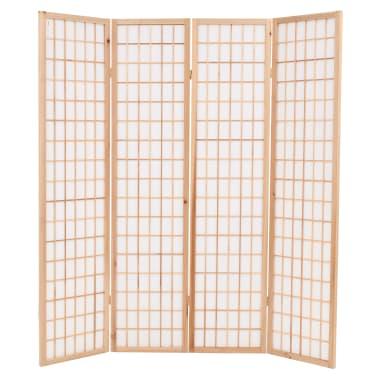 "vidaXL Folding 4-Panel Room Divider Japanese Style 63""x66.9"" Natural[2/6]"