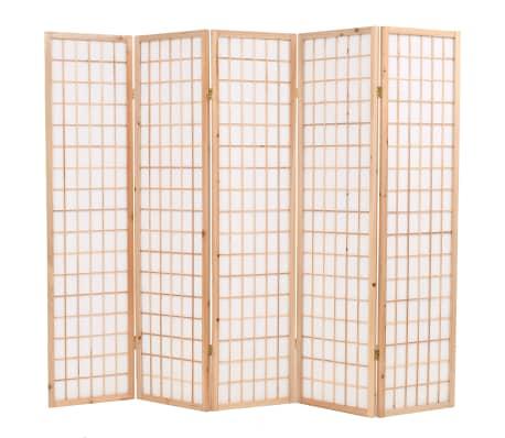"vidaXL Folding 5-Panel Room Divider Japanese Style 78.7""x66.9"" Natural[1/6]"