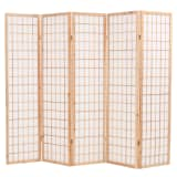 vidaXL Folding 5-Panel Room Divider Japanese Style 200x170 cm Natural