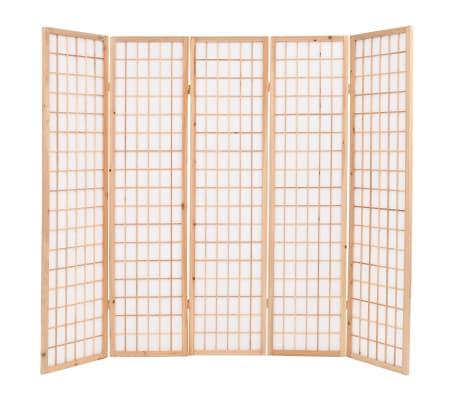 "vidaXL Folding 5-Panel Room Divider Japanese Style 78.7""x66.9"" Natural[2/6]"