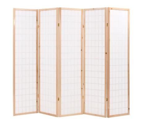 "vidaXL Folding 5-Panel Room Divider Japanese Style 78.7""x66.9"" Natural[4/6]"