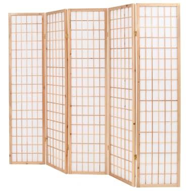 "vidaXL Folding 5-Panel Room Divider Japanese Style 78.7""x66.9"" Natural[3/6]"