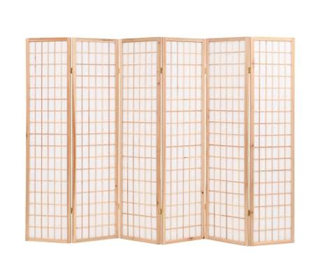 "vidaXL Folding 6-Panel Room Divider Japanese Style 94.5""x66.9"" Natural[1/6]"