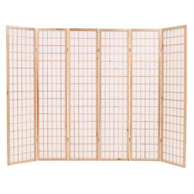 "vidaXL Folding 6-Panel Room Divider Japanese Style 94.5""x66.9"" Natural[2/6]"