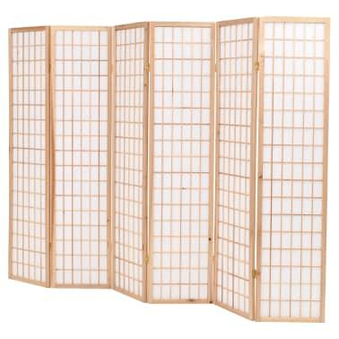 "vidaXL Folding 6-Panel Room Divider Japanese Style 94.5""x66.9"" Natural[3/6]"