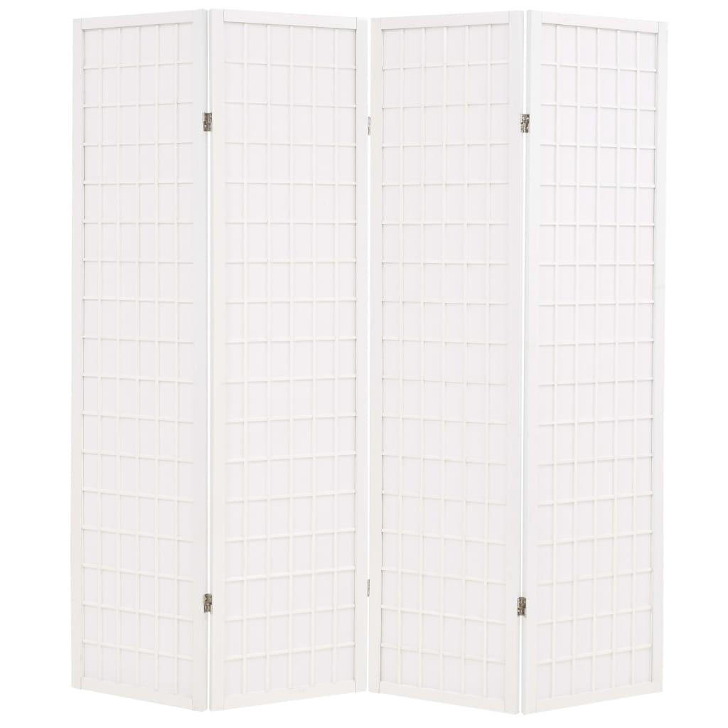 vidaXL Składany parawan 4-panelowy w stylu japońskim, 160x170, biały