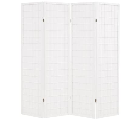 vidaXL Sammenleggbar romdeler 4 paneler japansk stil 160x170 cm hvit