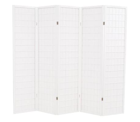 vidaXL Sammenleggbar romdeler 5 paneler japansk stil 200x170 cm hvit