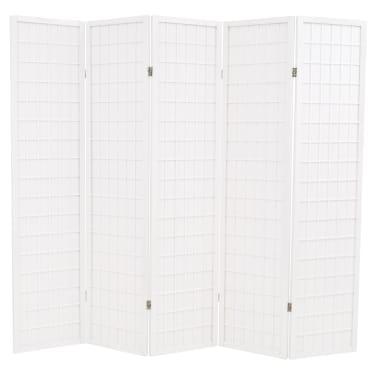 "vidaXL Folding 5-Panel Room Divider Japanese Style 78.7""x66.9"" White[1/6]"