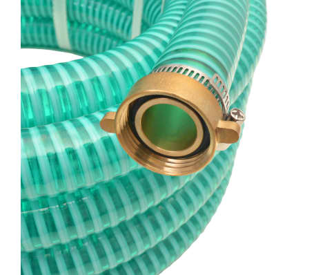 vidaXL Sesalna cev z medeninastimi nastavki 10 m 25 mm zelene barve[2/7]