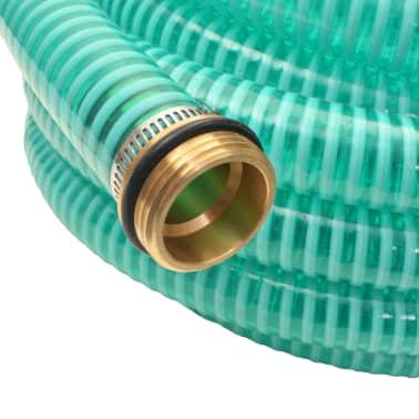 vidaXL Sesalna cev z medeninastimi nastavki 10 m 25 mm zelene barve[3/7]