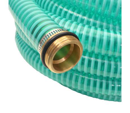 vidaXL Sesalna cev z medeninastimi nastavki 15 m 25 mm zelene barve[3/7]