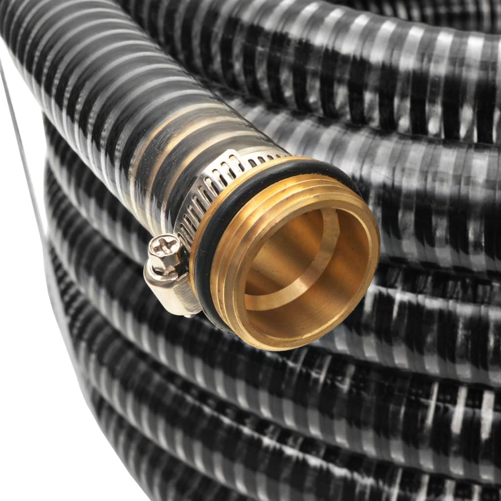 vidaXL Zuigslang met messing koppelingen 7 m 25 mm zwart