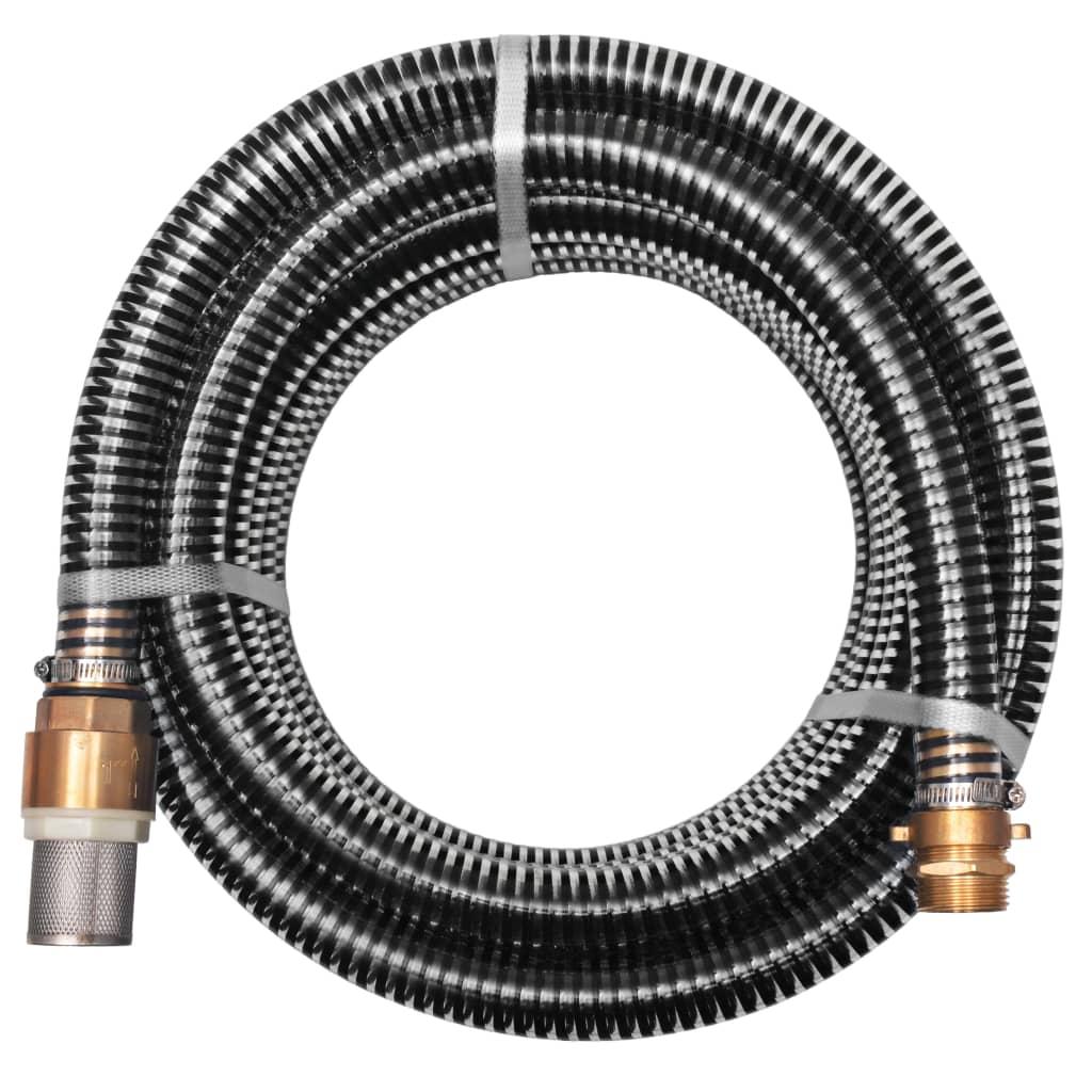 Sací hadice s mosaznými konektory 10 m 25 mm černá