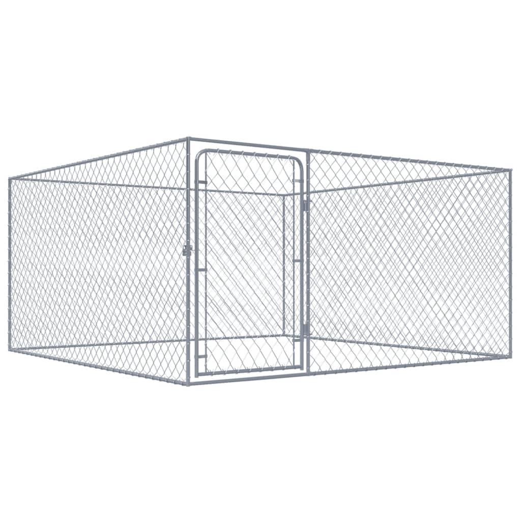 vidaXL Padoc pentru câini de exterior, 2 x 2 x 1 m, oțel galvanizat imagine vidaxl.ro