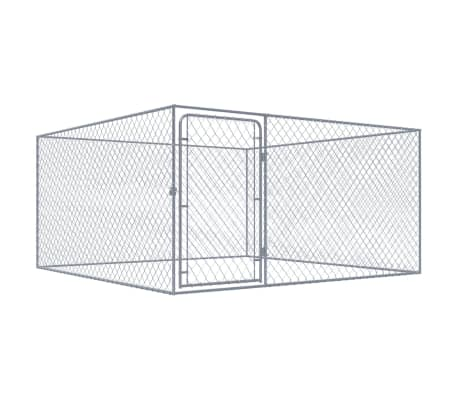vidaXL Zunanji pasji boks pocinkano jeklo 2x2 m[1/5]
