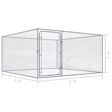 vidaxl chenil ext rieur pour chiens acier galvanis 2 x 2. Black Bedroom Furniture Sets. Home Design Ideas