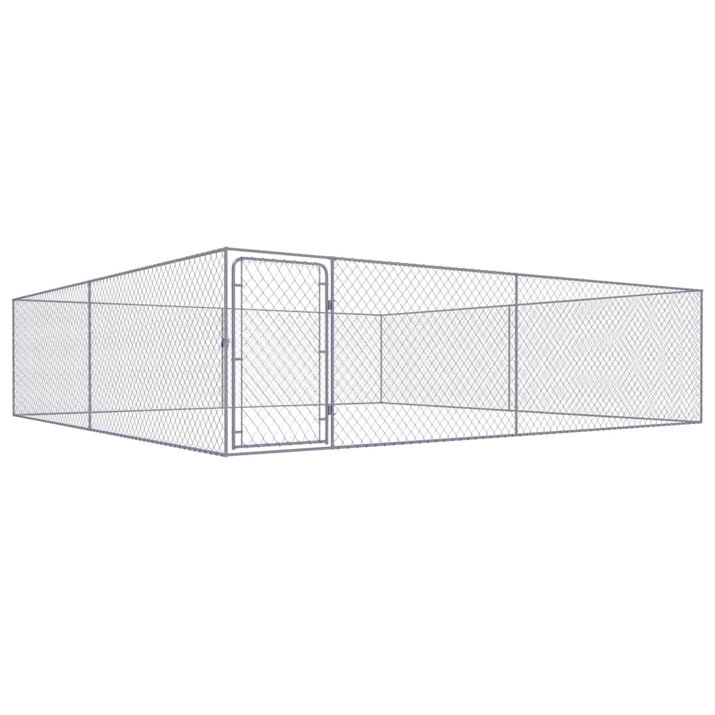 vidaXL Padoc pentru câini de exterior, 4 x 4 x 1 m, oțel galvanizat poza vidaxl.ro